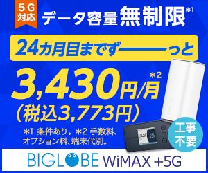 【WiMAX 2+】データ端末同時購入で17,000円キャッシュバック!開始月無料!【BIGLOBE】インターネット通信